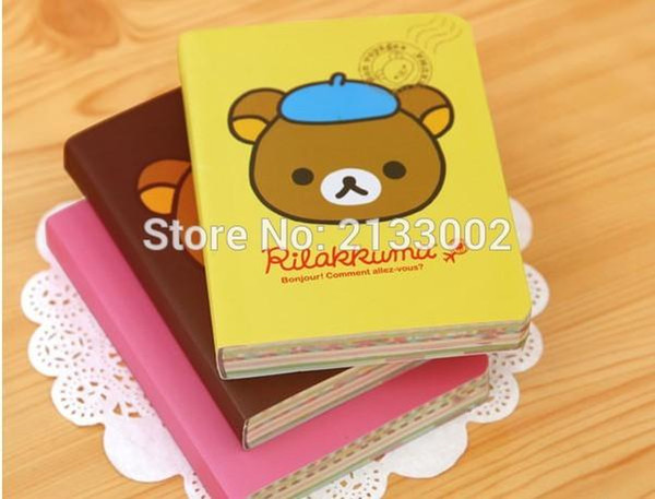 Wholesale- Cute Cartoon Rilakkuma Printed Cover Color Pages Mini Notebook Diary Notepad Travel Book