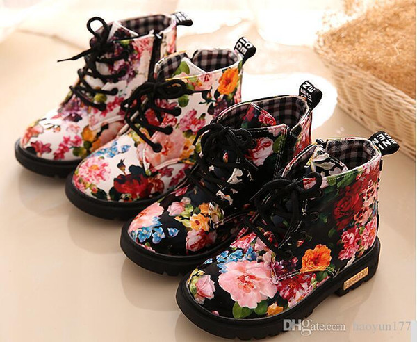 Kids Shoes Floral Martin Boots for Girls Botas Elegant Flower Print PU Leather Shoes Child Rubber Soled Boots Brand Bottes