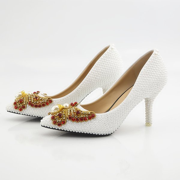 New Beautiful white pearls femmes pompes bout pointu bowtie cristal chaussures de mariage à la main lady talons plus la taille
