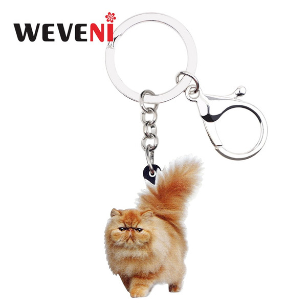weveni acrylic fatty fluffy cat kitten key chains keychain rings jewelry for women girls teen handbag car charms pet accessories, Silver