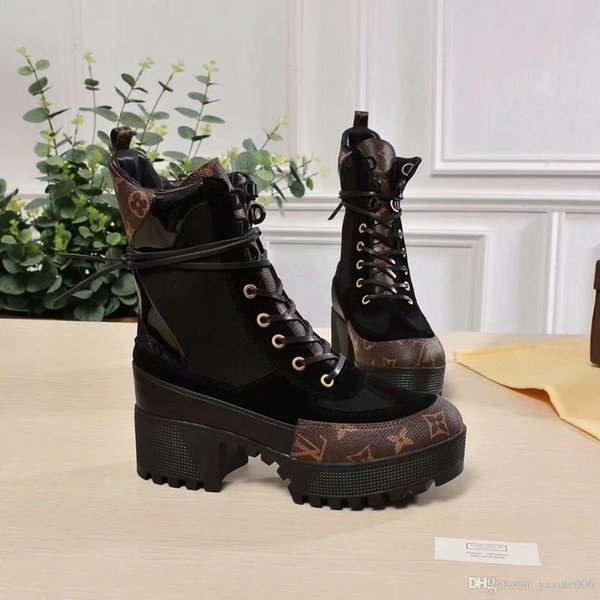 18ss Luxury Laureate Platform Desert Boot Designer Brand Ankle Boots Fashion Suede Martin Shoes Black White Brown size 35-42