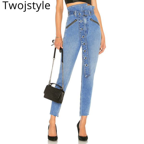 Twojstyle 2018 Herbst Winter Neue Frauen Hohe Taille Mode Jeans Große Größe Haben Taille Gürtel Und Tasche Feste Blaue Bleistift Hosen