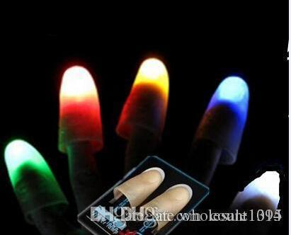 100pcs Red Blue Green Creative Novelty Toys Trade Selling High Quality Light Dancing Thumb Lights Finger Light Stage Magic Props YH048