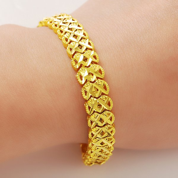 New Vintage Classic 24K GP Pattern Chain Bracelets For Women Anniversary Engagement Jewelry Gifts,pure gold color bracelet