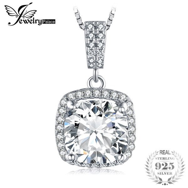 JewelryPalace Cushion 3ct Halo Solitaire 925 Sterling Silver Pendant Necklace for Women Jewelry 45cm Box Chain