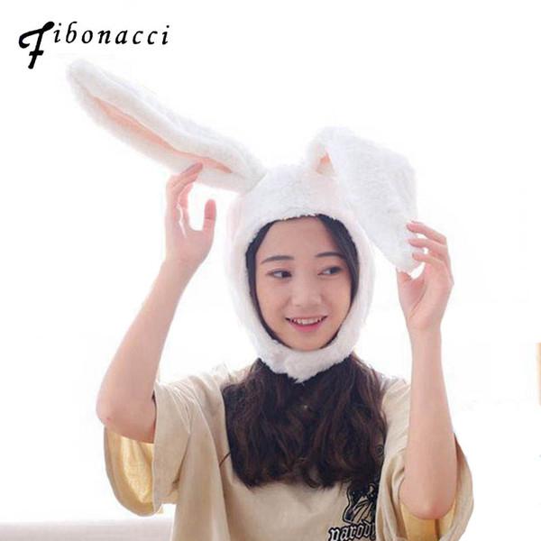 Fibonacci 2018 New Soft Warm Animal Rabbit Hats Orejas Largas Etapa Juego de Peluche Gorro de Peluche Lleno Gorros Para Mujeres Adulto Sombrero