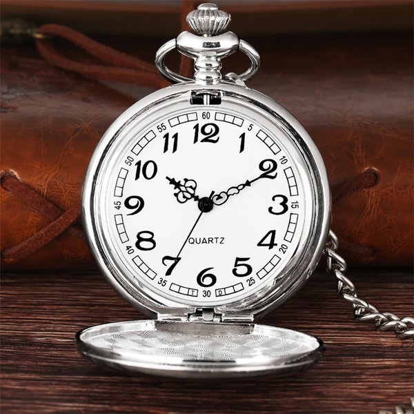 Silver Smooth Face Arabic Numbers Fob Pocket Watch Chain Accessories for Women Men Steampunk Clock for Gifts