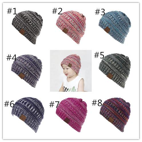 5d1b0fb8a4249e Baby Winter CC Beanies Caps Girls Boys Knit Multi Color Ribbed Hat Children  Outdoor Casual Warm
