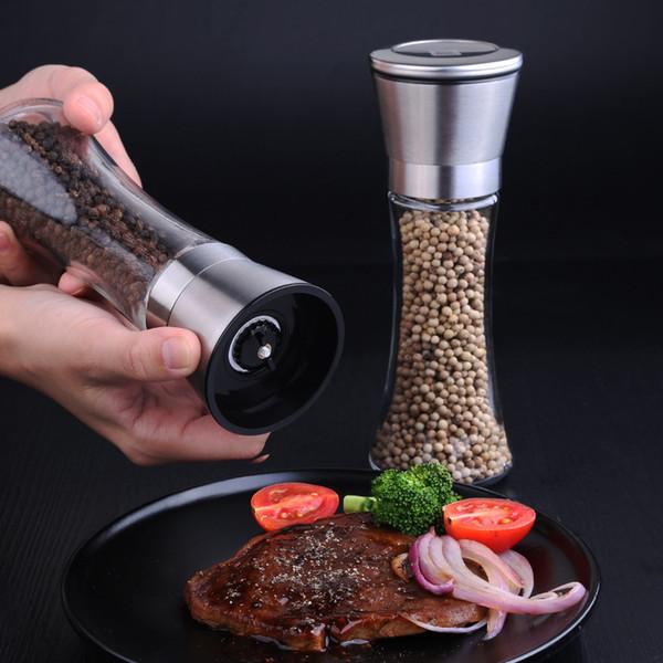 Salt And Pepper Grinder Salt Mill Pepper Mill Spice 304 Stainless Steel Lid Slim Glass Bottle Adjustable Ceramic Rotor Y18110204