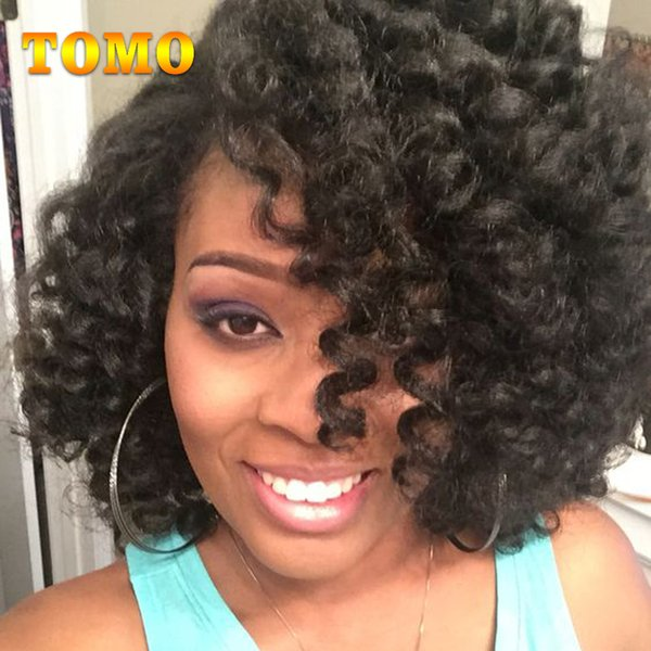 """TOMO Wand Curl 8"""" Short Jamaica Bounce Curly Crochet Curly Hair Synthetic Black brown Burgundy Ombre Braiding Hair Extensions 20 Roots/pack"""
