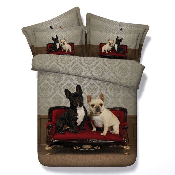 3D sofa bulldog bedding sets queen christmas duvet cover single twin king cal king size animal bedspreads home textiles pillow shams 3pc