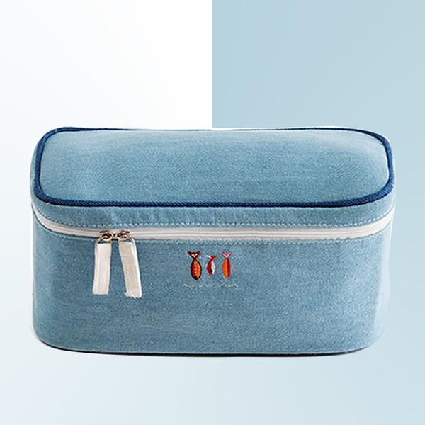 Wobag Fashion Bra Underwear Denim Material Travel Bags Suitcase Organizer Women Travel Bags Lingerie Toiletry Wash