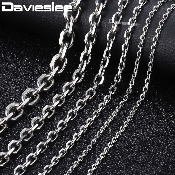 Davieslee Mens Necklace Chain Stainless Steel Silver Tone Rolo Link Chains Necklaces for Men Jewelry Fashion 2/3/4/6/10mm LKNM31