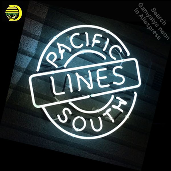 Pacific Lines South Neon Sign REAL GLASS Tube BAR Light Sign Store Display Custom Handcraft Design Iconic Pub Bar Signs