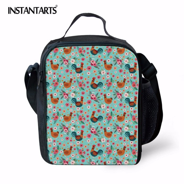 INSTANTARTS Cute Chicken Flower Printing Camping Picnic Bags for Kids Women Thermal Insulated Lunch Box Tote Handbags Girls