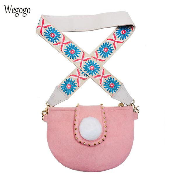 Original 2018 Spring New Women Bag Art Fresh Shoulder Strap Wool Floral Embroidery Cloth Shoulder Messenger Bag Travel Beach