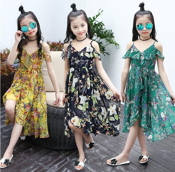 Girls Dress Bohemian Summer Dress For Girls 2018 Casual Girls Beach Sundress Teenage Kids Teen Clothes 6 8 10 12 Year