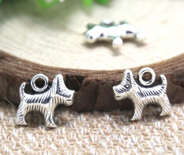 20 unids / lote- perro pequeño encantos antiguos de plata tibetana corte colgantes del encanto del perro 13x13mm