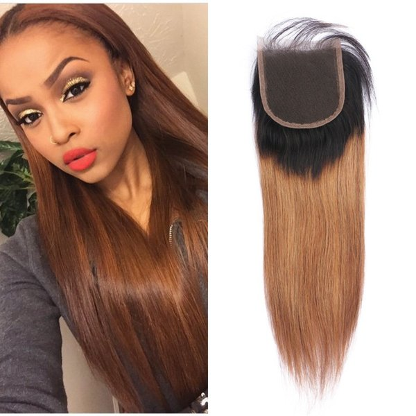 1b / 30 Ombre Color del pelo recto Cierre de encaje 4 * 4 pulgadas Pieza libre piezas de cierre superior del cabello humano peruano