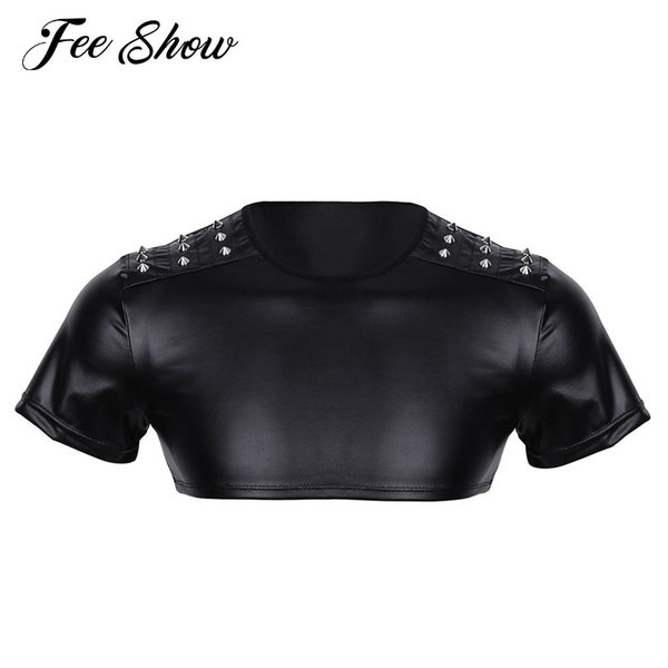 New Mens Soft Faux Leather Short Sleeve Men's Crop Top Studded Muscle Half Tank Top Clubwear Stage Costume Crop Tops Performance