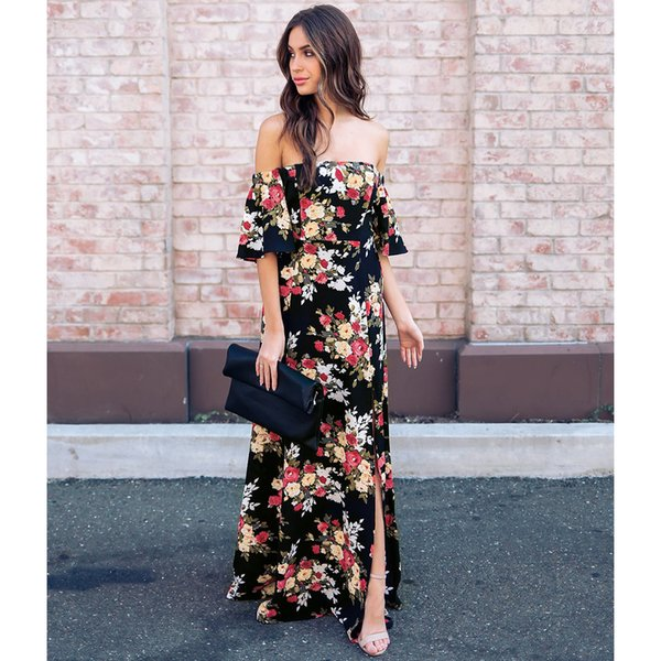Cheap Summer Maxi Floral Printed Dresses Women Long Dresses 2018 Off the Shoulder Beach Dresses Sheath Bodycon Floor-Length Holiday 1311