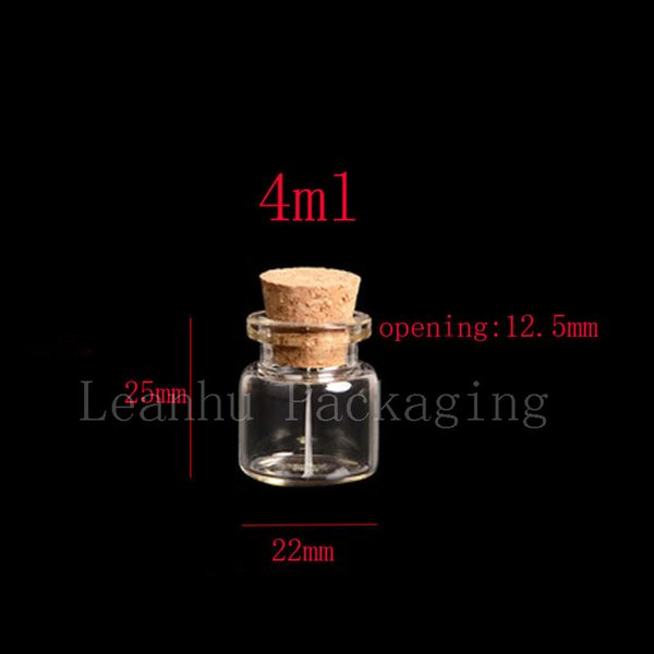 4ml 50pc / lot cork stoppered vial, glass tube with wood cork, glass sample vial, wishes bottle,Mini clear glass corked bottles