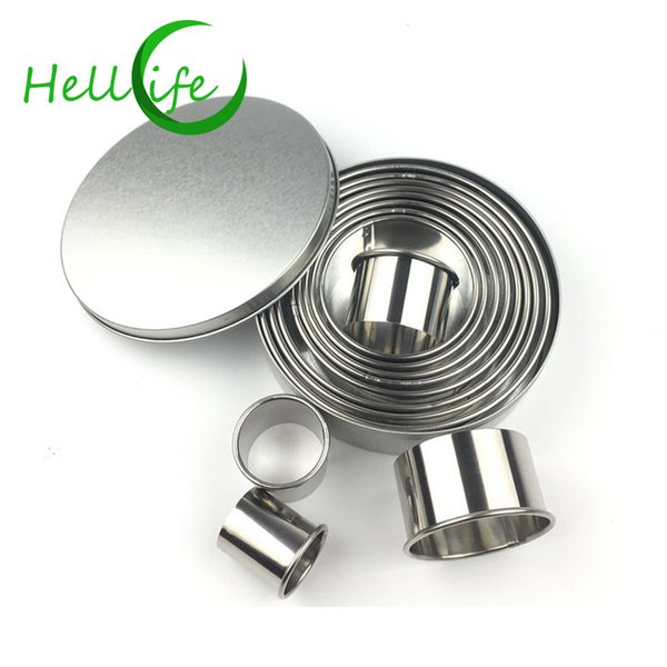 HELLOLIFE Silver Mousse Cake Rings Stainless Steel 12pcs/set Round Small Cake Mold 3-12cm DIY Biscuit Bakeware Baking Tools