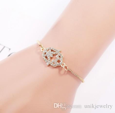 Delicated Bracelets Fatima Hand For Girls/Ladies String Lock Rhinestoned Alloy Brand Design Gold Filled Chain Bracelets