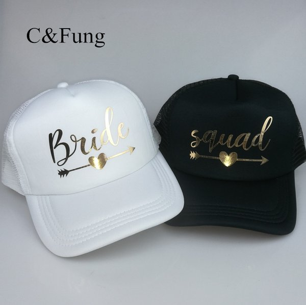 980c5122cca C Fung BRIDE SQUAD Baseball Caps Hat Bride to be gold Arrow trucker hats  Bachelor party Summer