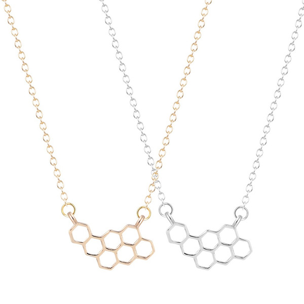 QIAMNI Unique Jewelry Cute Simple Honeycomb Beehive Hive Bee Honeybee Necklace Pendant Collares Fashion Gift for Girls and Women
