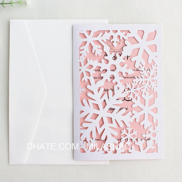 Christmas Card Printing.Snowflake Christmas Greeting Cards White Laser Cut Festival Party Invitation Card Party Supplies Custom Printing Free Ship Wedding Invitation Software