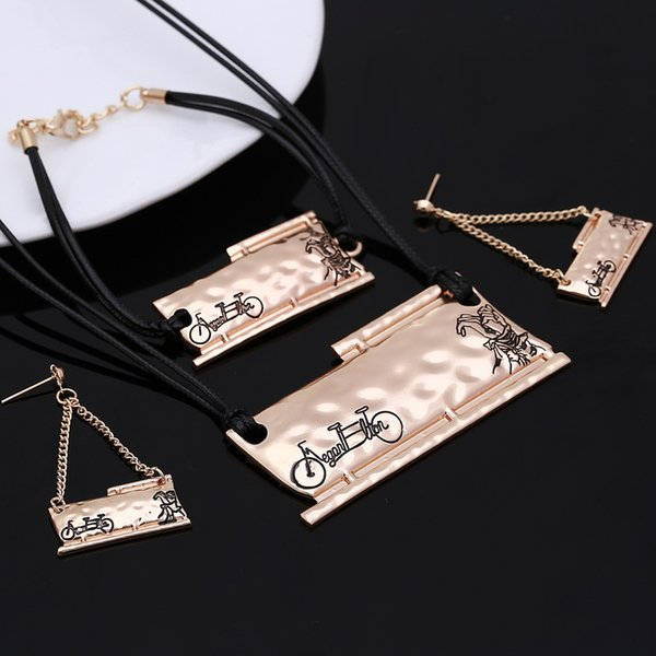 High Quality Summer Party Jewelry Set Female Luxury Gold/Silver Plated Geometry Design Wax Rope Choker Necklace Set