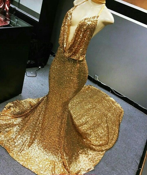 Sexy Gold Sequined Prom Dresses For Black Girls Mermaid Halter Deep V Neck Sweep Train Formal Dresses Evening Wear SP371