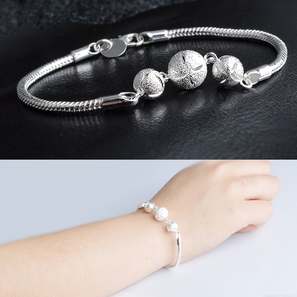 New Men's 23cm large size easy hook Hollow ball bracelets Jewelry stamped 925 silver plated bangles gift Pouches S215