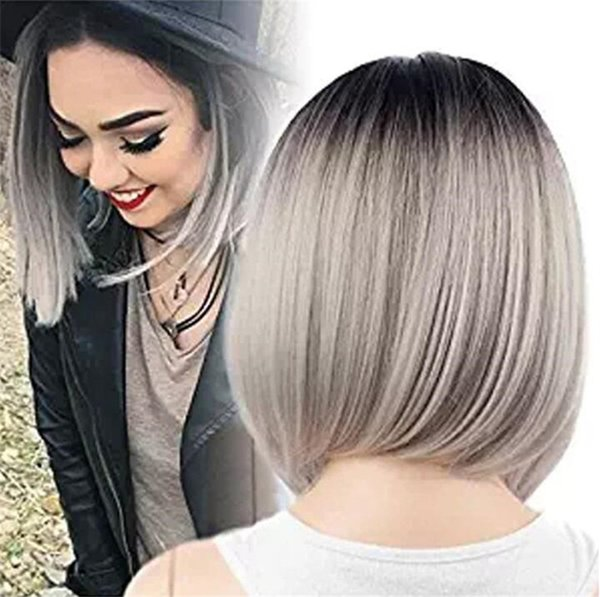 Side Part #Grey Bob Style Hair Wig Baby Hair Brazilian Human Hair Lace Front Wig Glueless Full Lace Wig Bleached Knot