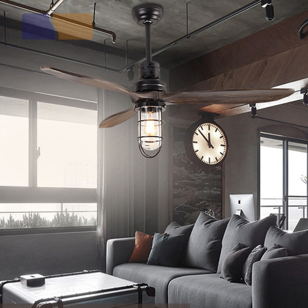 best selling LED E27 Loft Iron Wood Glass Ceiling Fan LED Lamp Light LED Ceiling Lights Ceiling Lamp with Remote Control For dining room living room