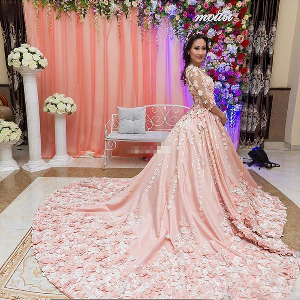 Delicate 3D Floral Colorful Wedding Dress Glamorous Pearls 3/4 Long Sleeves Sheer Jewel Neck Bridal Dress Middle-East Princess Chapel Train