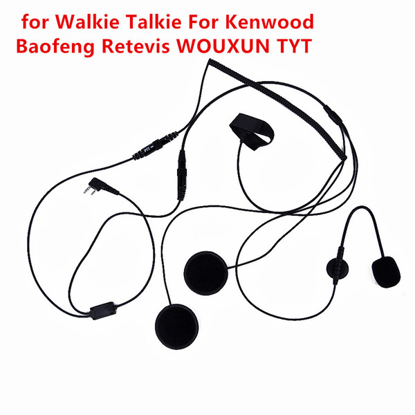For Kenwood For Baofeng Retevis 2 Pin Finger PTT Headset Walkie Talkie Motorcycle Helmet Microphone For TYT Two Way Radio