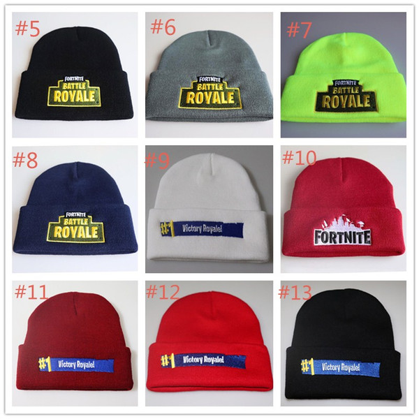 Fortnite Battle Knitted Hat Fashion Hip Hop Embroidery Knitted Costume Cap  Winter Kids Soft Warm Skuilles Outdoor Beanies 13 styles in stock 6dc07e987916