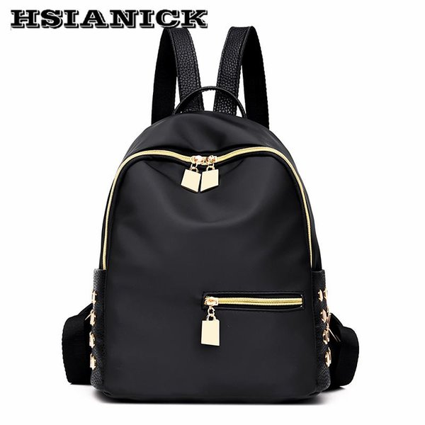 2017 woman new design fashion black backpack Oxford cloth casual shoulder bag female Mummy book bag soft leather school backpack