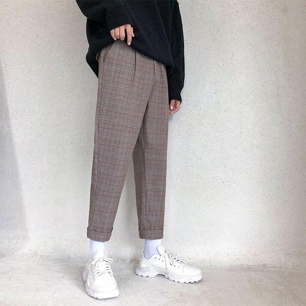 2018 Patrón de enrejado de la moda de los hombres coreanos del otoño Directamente Bote Pantalón Hasta el tobillo Pantalones sueltos Casual Color sólido M-2XL