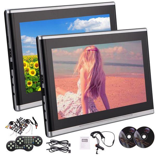 "EinCar 10.1"" Dual car DVD Player Ultra-thin TFT Screen Backseat Headrest Portable DVD Player USD SD HDMI 32 Bits Game Disc - Black"