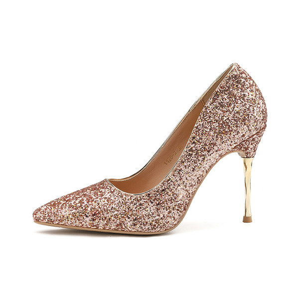 Glitter Sequined Wedding Shoes Bridal Silver White Pointy Toe High Heels Pumps Event Prom Party size 34 to 39