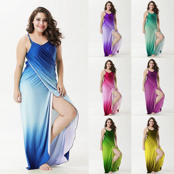 Plus Size Swimsuit Cover Ups For Women Backless Bikini Wrap Gradient 7 Colors Beach Dress XL-XXXXXL