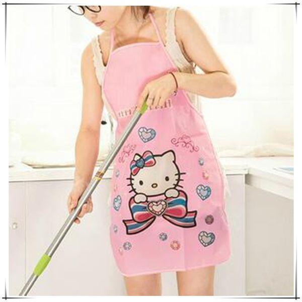 Korea Householder Schürze Küche Teile Reinigung Kochen Wasserdichte PVC Cartoon Nette Dame Kochen Kleid Hallo Kitty Kawaii Geschenk