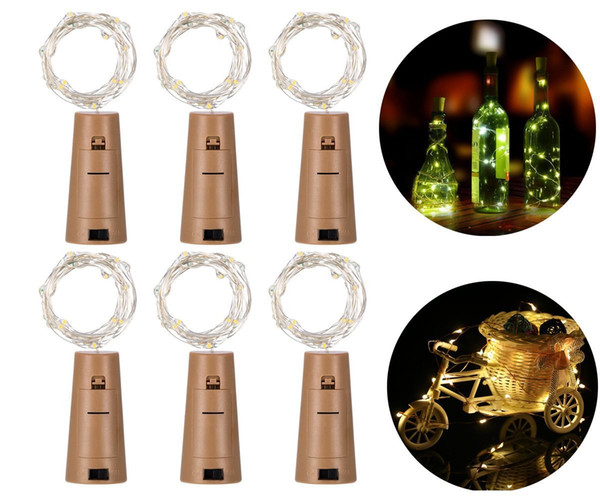 LED strips button lamp 1M 10LED Lamp Cork Shaped Bottle Stopper Light Glass Wine LED Copper Wire String Lights For Xmas