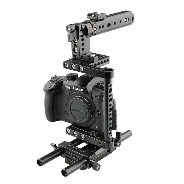 Kamera Cage Rig w / Top Griff Stativplatte für Canon Nikon Sony Panasonic