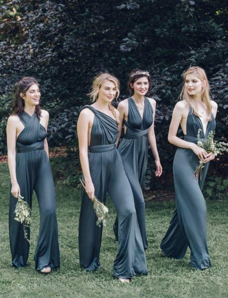 2019 Bridesmaid Dresses Prom Dresses Silk Satin Bridesmaids Dresses Pants Suits Wedding Guest Dress Backless Sheath Custom Made