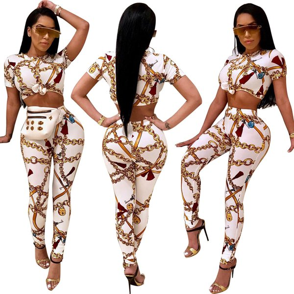 Fashion Golden Chain Printed Women 2 Piece Set Casual Tracksuit Summer O Neck Short Sleeve Cropped Tops + Long Pants Outfit Set