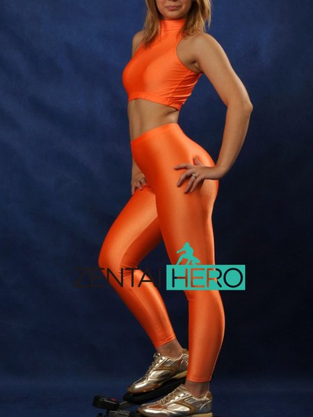 Free Shipping Wholesale NEW Two Pieces Orange Color Spandex Gymnastics Costume Leotard For Women Sexy Zentai Catsuit 17011104